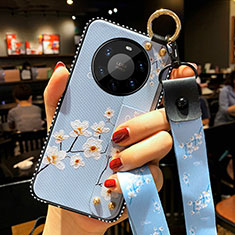 Funda Silicona Gel Goma Flores Carcasa S01 para Huawei Mate 40 Pro+ Plus Azul Claro