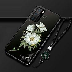 Funda Silicona Gel Goma Flores Carcasa S01 para Huawei P40 Blanco