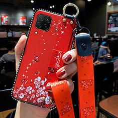 Funda Silicona Gel Goma Flores Carcasa S01 para Huawei P40 Lite Rojo