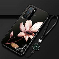 Funda Silicona Gel Goma Flores Carcasa S01 para Huawei P40 Pro Marron