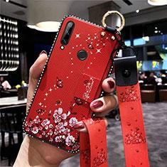 Funda Silicona Gel Goma Flores Carcasa S02 para Huawei Enjoy 10 Plus Rojo