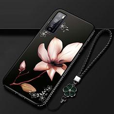 Funda Silicona Gel Goma Flores Carcasa S02 para Huawei Enjoy 20 Pro 5G Marron