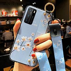 Funda Silicona Gel Goma Flores Carcasa S02 para Huawei P40 Azul Cielo