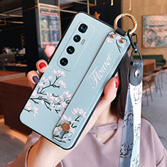 Funda Silicona Gel Goma Flores Carcasa S02 para Xiaomi Mi 10 Ultra Azul Claro