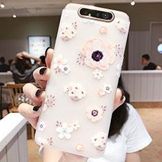 Funda Silicona Gel Goma Flores Carcasa S04 para Samsung Galaxy A80 Rosa