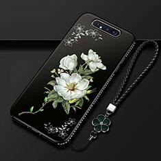 Funda Silicona Gel Goma Flores Carcasa S06 para Samsung Galaxy A80 Negro