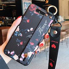 Funda Silicona Gel Goma Flores Carcasa S07 para Samsung Galaxy A80 Negro