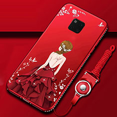 Funda Silicona Gel Goma Vestido de Novia Carcasa K01 para Huawei Mate 20 Pro Rojo