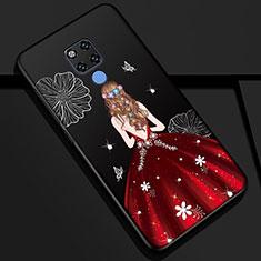 Funda Silicona Gel Goma Vestido de Novia Carcasa K01 para Huawei Mate 20 Rojo y Negro