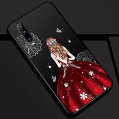 Funda Silicona Gel Goma Vestido de Novia Carcasa K02 para Huawei P30 Rojo y Negro