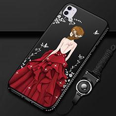 Funda Silicona Gel Goma Vestido de Novia Carcasa M01 para Apple iPhone 11 Rojo y Negro