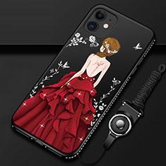 Funda Silicona Gel Goma Vestido de Novia Carcasa para Apple iPhone 12 Rojo y Negro