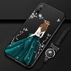 Funda Silicona Gel Goma Vestido de Novia Carcasa para Huawei Enjoy 10 Verde