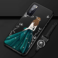 Funda Silicona Gel Goma Vestido de Novia Carcasa para Huawei Enjoy 20 Pro 5G Verde
