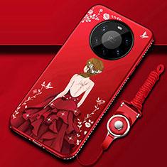 Funda Silicona Gel Goma Vestido de Novia Carcasa para Huawei Mate 40 Pro+ Plus Rojo