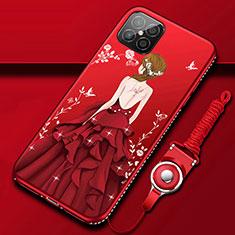 Funda Silicona Gel Goma Vestido de Novia Carcasa para Huawei Nova 8 SE 5G Rojo