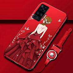 Funda Silicona Gel Goma Vestido de Novia Carcasa para Vivo X51 5G Rojo