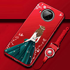 Funda Silicona Gel Goma Vestido de Novia Carcasa para Xiaomi Mi 10T Lite 5G Rojo Rosa