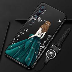 Funda Silicona Gel Goma Vestido de Novia Carcasa S01 para Xiaomi Mi Note 10 Verde