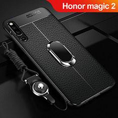 Funda Silicona Goma de Cuero Carcasa con Magnetico Anillo de dedo Soporte A01 para Huawei Honor Magic 2 Negro