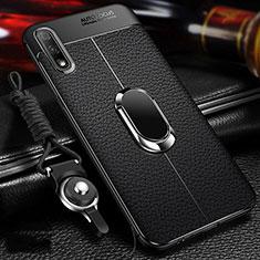 Funda Silicona Goma de Cuero Carcasa con Magnetico Anillo de dedo Soporte para Huawei Enjoy 10 Negro