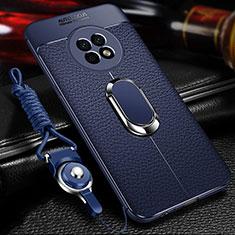 Funda Silicona Goma de Cuero Carcasa con Magnetico Anillo de dedo Soporte para Huawei Enjoy 20 Plus 5G Azul