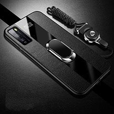Funda Silicona Goma de Cuero Carcasa con Magnetico Anillo de dedo Soporte para Huawei Enjoy 20 Pro 5G Negro