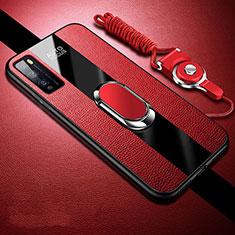 Funda Silicona Goma de Cuero Carcasa con Magnetico Anillo de dedo Soporte para Huawei Enjoy Z 5G Rojo