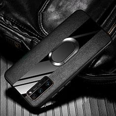 Funda Silicona Goma de Cuero Carcasa con Magnetico Anillo de dedo Soporte para Huawei Honor 30 Pro Negro