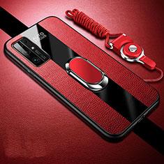 Funda Silicona Goma de Cuero Carcasa con Magnetico Anillo de dedo Soporte para Huawei Honor 30 Rojo