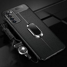 Funda Silicona Goma de Cuero Carcasa con Magnetico Anillo de dedo Soporte para Huawei Honor Play4 5G Negro