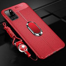 Funda Silicona Goma de Cuero Carcasa con Magnetico Anillo de dedo Soporte para Huawei Honor Play4 Pro 5G Rojo