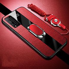Funda Silicona Goma de Cuero Carcasa con Magnetico Anillo de dedo Soporte para Huawei Honor Play4T Pro Rojo