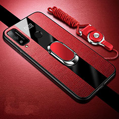 Funda Silicona Goma de Cuero Carcasa con Magnetico Anillo de dedo Soporte para Huawei Honor Play4T Rojo
