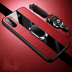 Funda Silicona Goma de Cuero Carcasa con Magnetico Anillo de dedo Soporte para Huawei Mate 40 Lite 5G Rojo