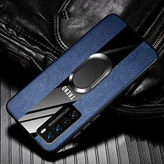 Funda Silicona Goma de Cuero Carcasa con Magnetico Anillo de dedo Soporte para Huawei Nova 7 Pro 5G Azul
