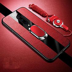 Funda Silicona Goma de Cuero Carcasa con Magnetico Anillo de dedo Soporte para OnePlus 8 Rojo