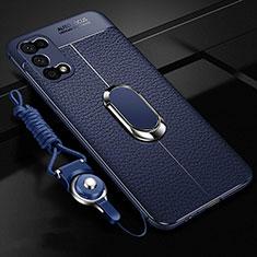 Funda Silicona Goma de Cuero Carcasa con Magnetico Anillo de dedo Soporte para Oppo K7x 5G Azul