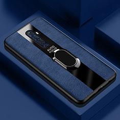 Funda Silicona Goma de Cuero Carcasa con Magnetico Anillo de dedo Soporte para Oppo Reno2 Z Azul