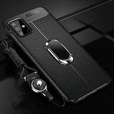 Funda Silicona Goma de Cuero Carcasa con Magnetico Anillo de dedo Soporte para Samsung Galaxy A51 4G Negro