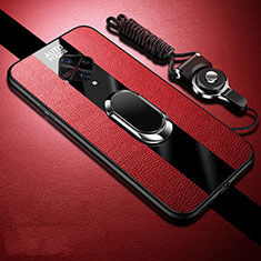 Funda Silicona Goma de Cuero Carcasa con Magnetico Anillo de dedo Soporte para Vivo X50 Lite Rojo