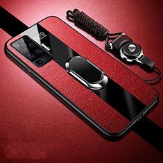 Funda Silicona Goma de Cuero Carcasa con Magnetico Anillo de dedo Soporte para Vivo X51 5G Rojo