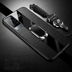 Funda Silicona Goma de Cuero Carcasa con Magnetico Anillo de dedo Soporte para Vivo X60 5G Negro
