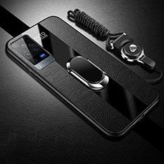 Funda Silicona Goma de Cuero Carcasa con Magnetico Anillo de dedo Soporte para Vivo X60 Pro 5G Negro