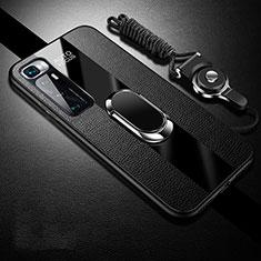 Funda Silicona Goma de Cuero Carcasa con Magnetico Anillo de dedo Soporte para Xiaomi Mi 10 Ultra Negro