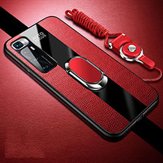 Funda Silicona Goma de Cuero Carcasa con Magnetico Anillo de dedo Soporte para Xiaomi Mi 10 Ultra Rojo