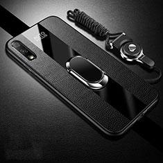 Funda Silicona Goma de Cuero Carcasa con Magnetico Anillo de dedo Soporte S01 para Huawei Enjoy 10 Negro