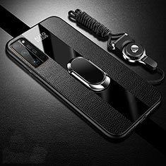 Funda Silicona Goma de Cuero Carcasa con Magnetico Anillo de dedo Soporte S01 para Huawei Honor 30 Pro Negro