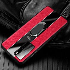 Funda Silicona Goma de Cuero Carcasa con Magnetico Anillo de dedo Soporte S01 para Huawei Honor 30 Rojo