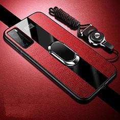 Funda Silicona Goma de Cuero Carcasa con Magnetico Anillo de dedo Soporte S01 para Huawei Honor Play4 5G Rojo